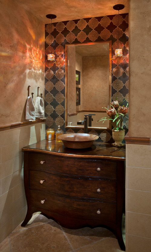 Maestro Bajo Vessel Sinks. Mediterranean Powder Room by Santa Ana Interior  Designers & Decorators Cindy Smetana Interiors