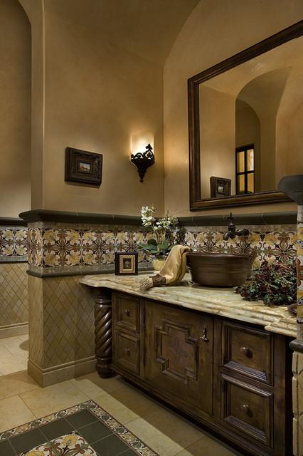 Awesome Mediterranean Powder Room Mediterranean Powder Room