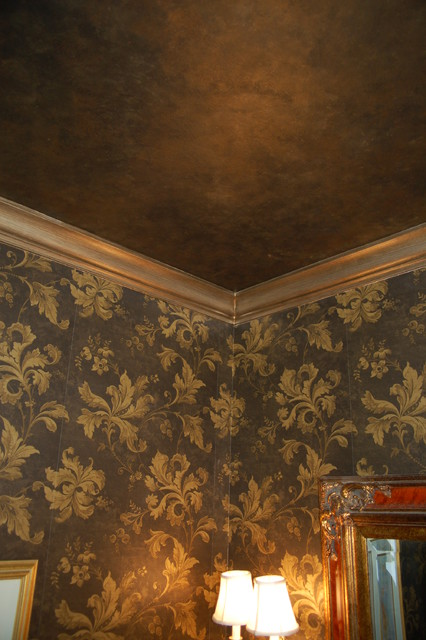 Metallic Black Ceiling,  Glazed Trim traditional-powder-room