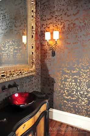 Metallic Formal Powder Bath Traditional Powder Room