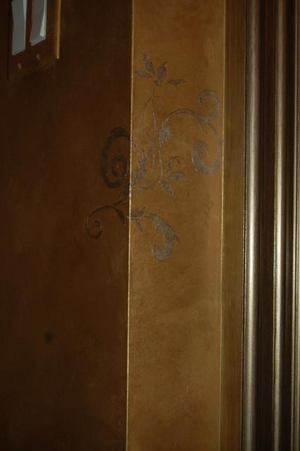 Metallic Gold Plaster Troweled Walls, Gilded Ceiling, Metallic Glazed Trim traditional-powder-room