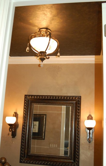 Metallic Plaster Powder Room Walls And Ceiling