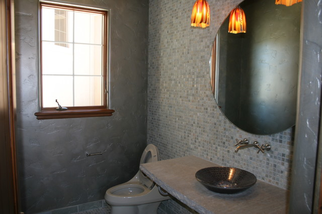 Metallic Touches and Stone Finishes eclectic-powder-room