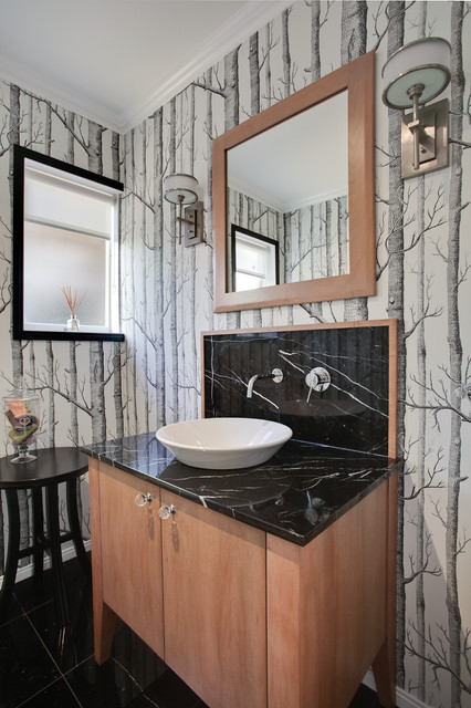 Mid Century Updated Contemporary Powder Room Auckland By Templer Interiors