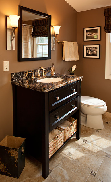 Wallner builders traditional powder room other metro for Brown bathroom designs