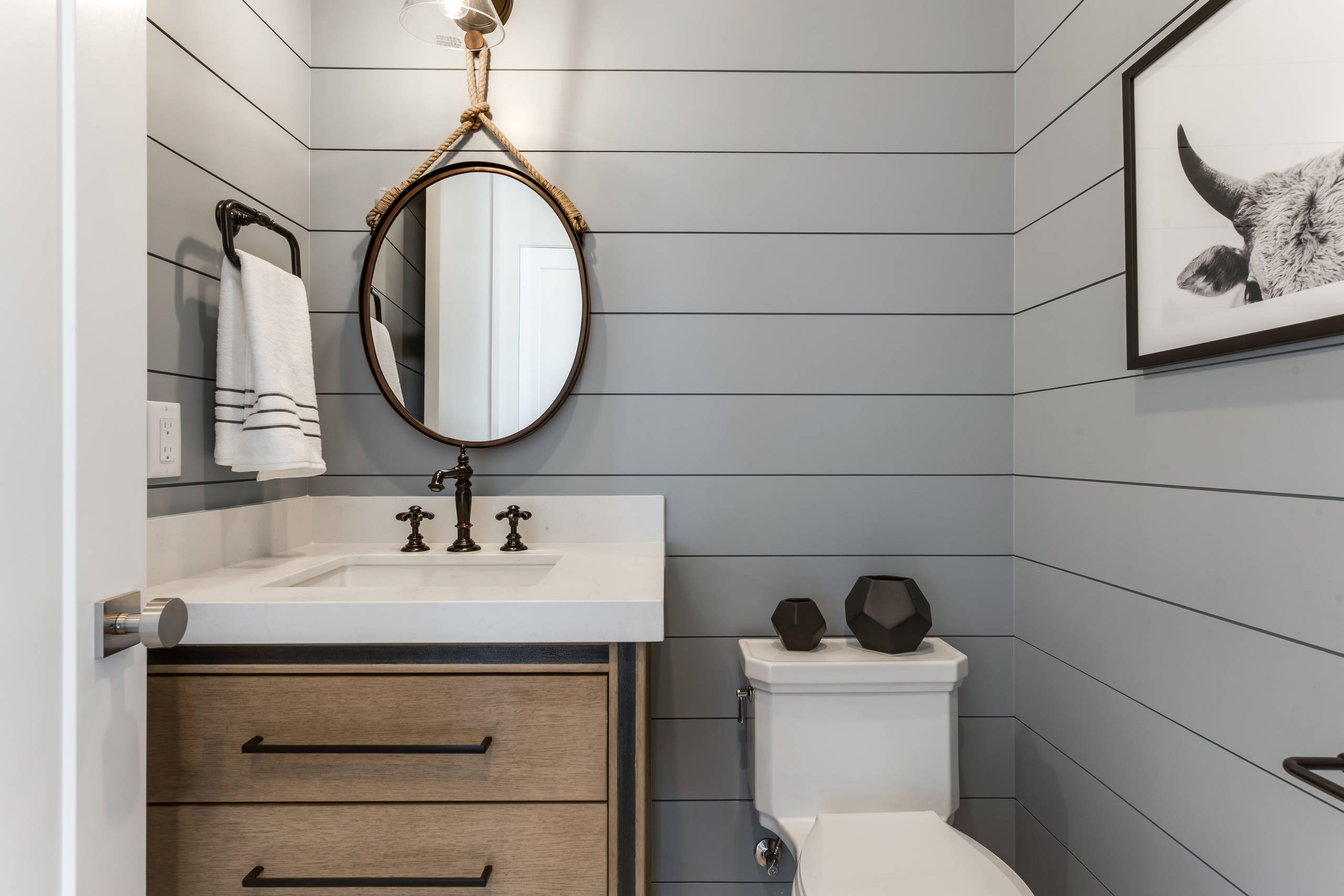 75 Beautiful Farmhouse Gray Powder Room Pictures Ideas February 2021 Houzz