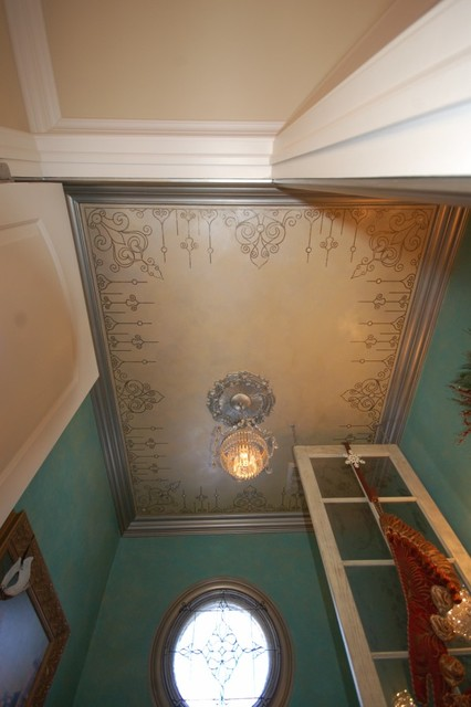 Modello Ceiling, Swarovski Crystals, Metallic Glazed Trim Powder Room eclectic powder room