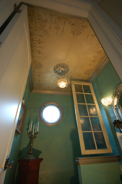 Modello Ceiling, Swarovski Crystals, Metallic Glazed Trim Powder Room eclectic-powder-room