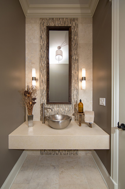 Modern Contemporary Powder Room With Travertine Tile