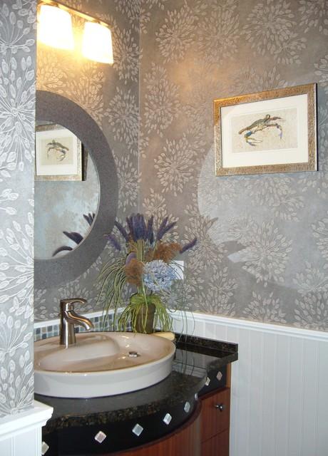 Modern Elegant Powder Room Bead Board Panelling Custom
