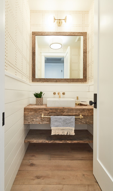Modern Farmhouse Beach Style Powder Room Los Angeles