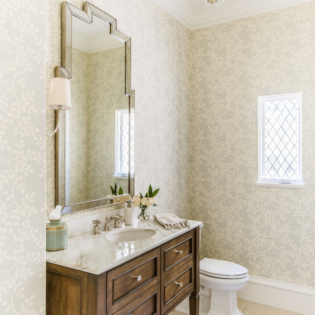 Modern French Country Transitional Powder Room