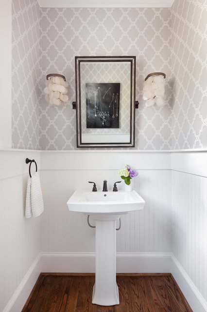 Powder Room Makeover modern home makeover - transitional - powder room - atlanta -