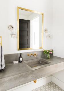 Gästetoilette & Gäste-WC mit Beton-Waschbecken/Waschtisch ...
