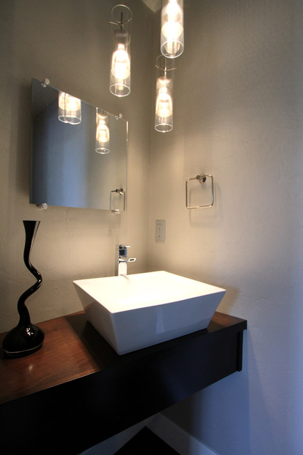 Modern powder bathroom with floating cabinet vessel sink for Contemporary powder room sinks
