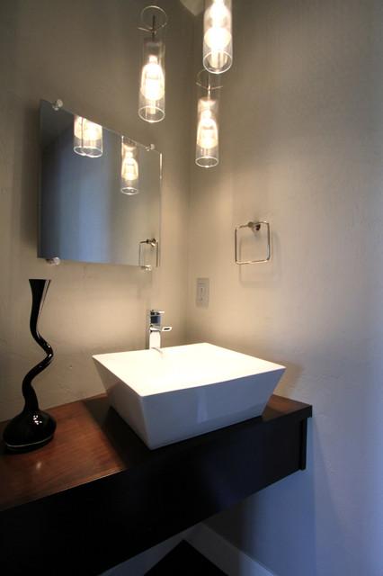 Modern Powder Bathroom With Floating Cabinet Vessel Sink