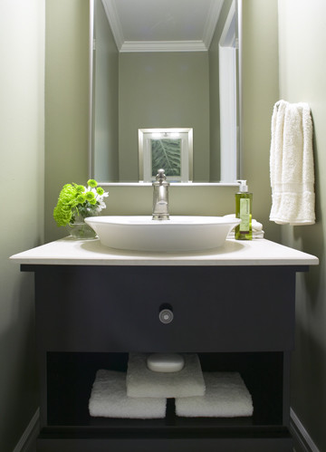 Modern powder room modern powder room toronto by for Powder bathroom vanities
