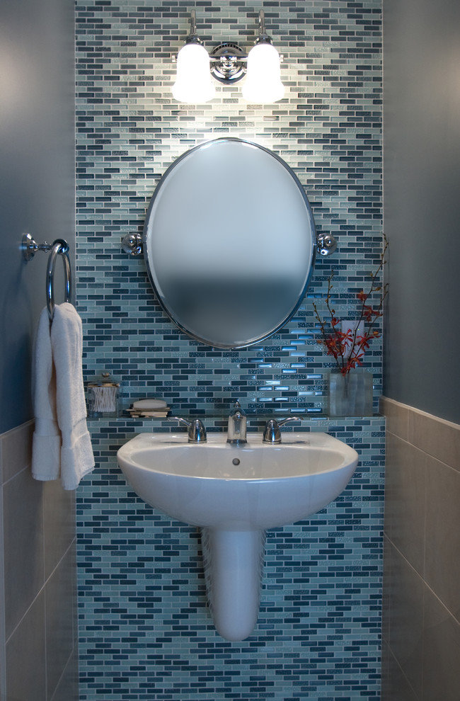 Trendy mosaic tile powder room photo in Other