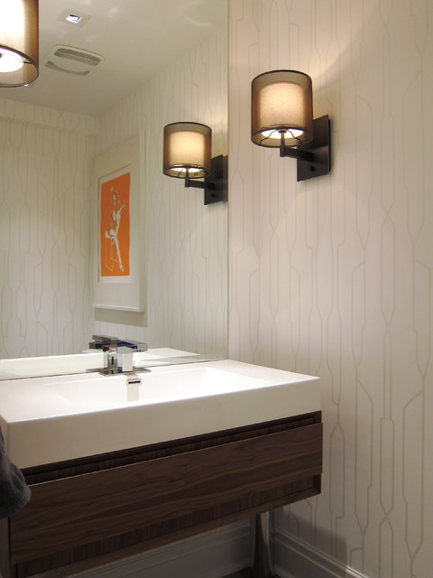Modern White Powder Room Modern Powder Room Toronto