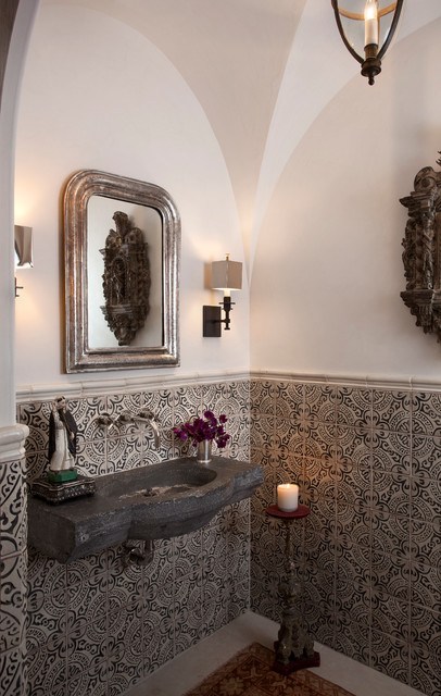 Montecito Mediterranean Powder Room Austin By Ryan