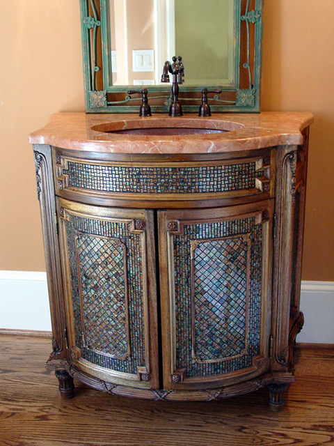 Powder Room Vanity mosaic vanity