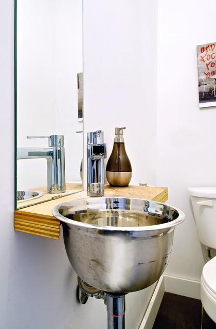 My Houzz: Creative Open-Concept Home in Toronto - Industrial ... on wallpaper powder bathroom, beach powder bathroom, houzz dining room,