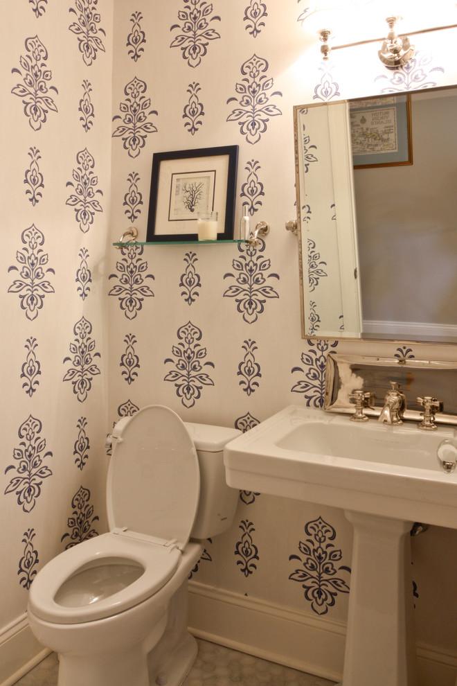 Elegant powder room photo in Newark with a pedestal sink