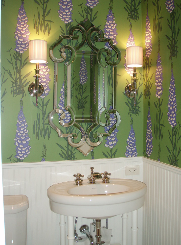 Inspiration for a small timeless powder room remodel in San Francisco with green walls and a pedestal sink