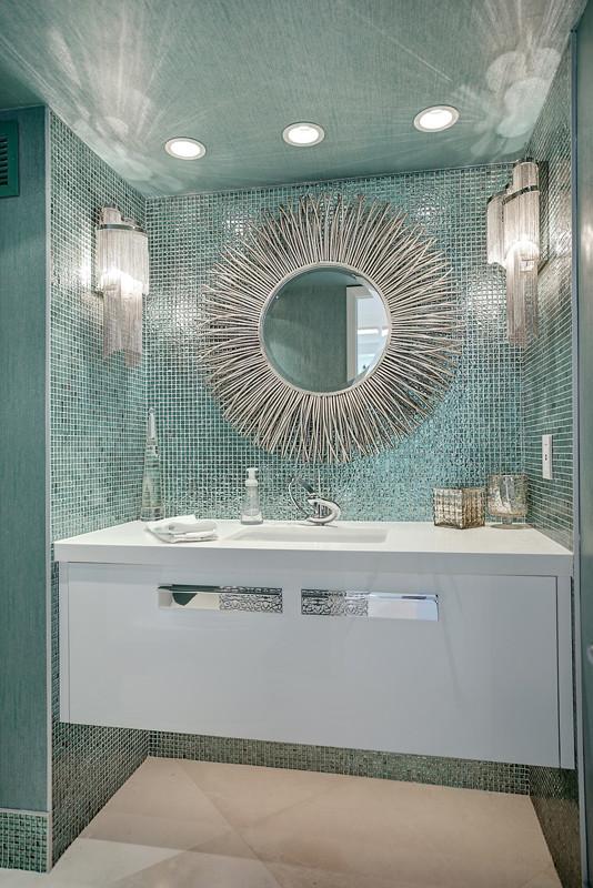Example of a trendy powder room design in Miami