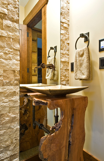 Rustic Powder Room by Sticks and Stones Design Group Inc