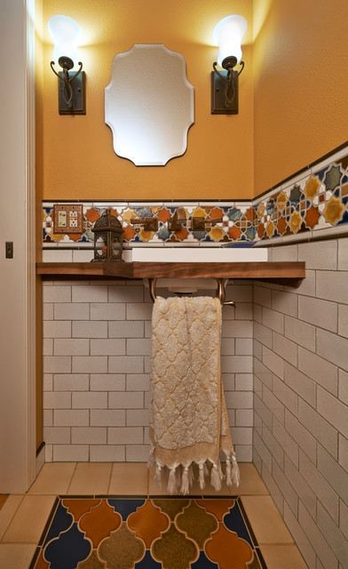 Old english library powder room portland by robin for Kitchen library portland