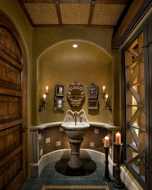 Old World Chandler Traditional Powder Room Phoenix