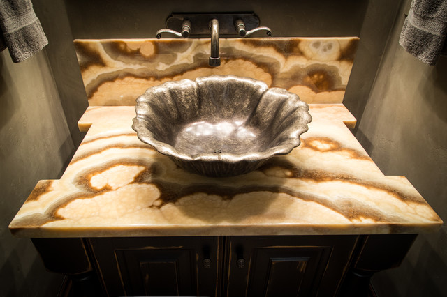 Onyx eclectic-powder-room