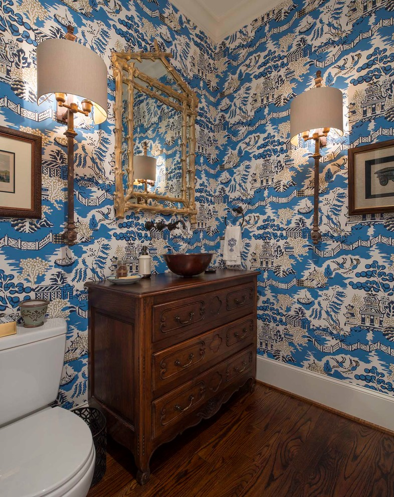 Powder room - dark wood floor powder room idea in Dallas with a vessel sink, furniture-like cabinets, dark wood cabinets, wood countertops and brown countertops