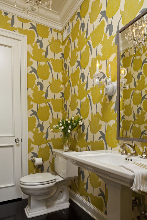 Tiptoe through the Tulips contemporary powder room