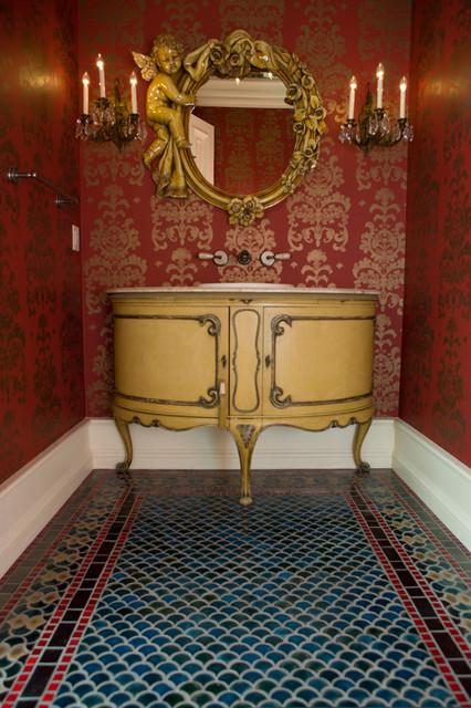Peacock Bathroom Floor Tile Contemporary Powder Room
