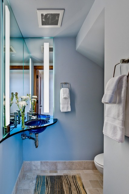 contemporary powder room by RKI Interior Design