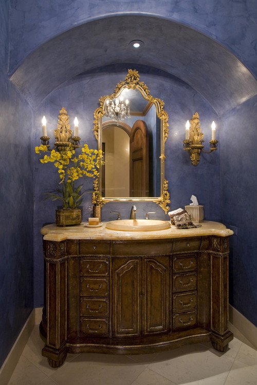 Traditional Bathroom with Ornate Gold Mirror