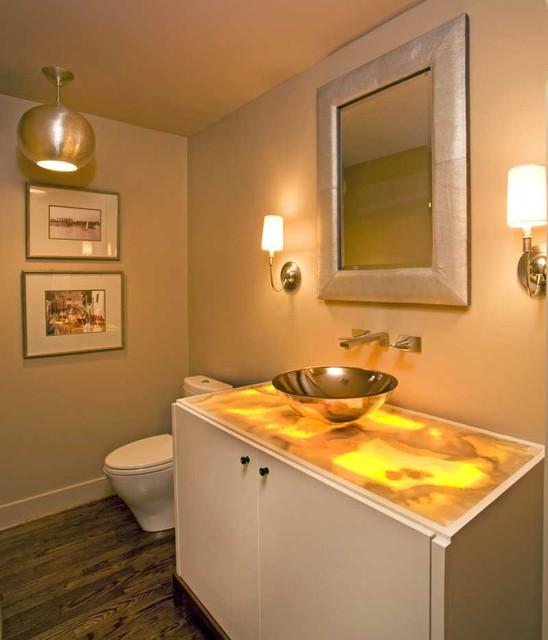 Powder Bath With Underlit Onyx Countertop Modern Powder Room