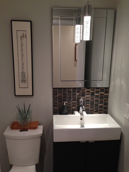 Small Powder Room Design Ideas, Pictures, Remodel & Decor with Brown Tile