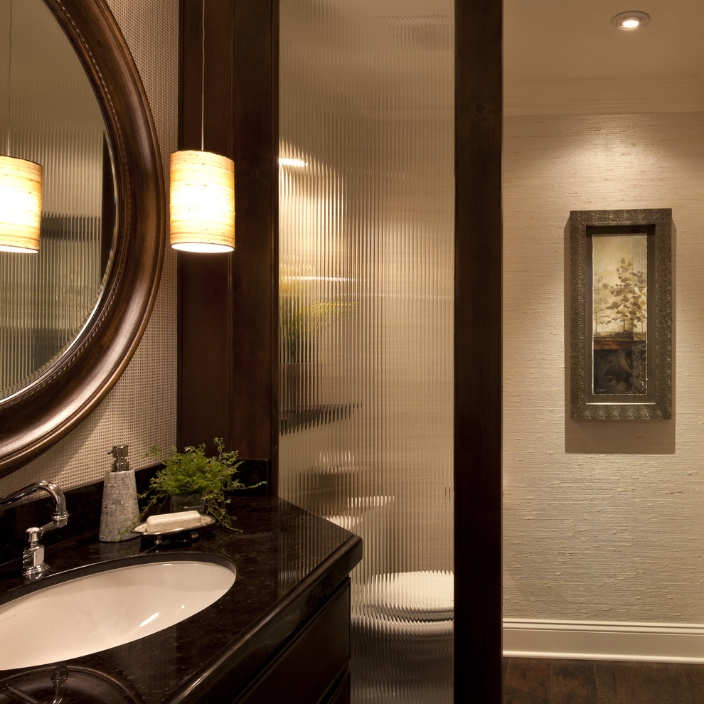 Example of a classic powder room design in San Diego