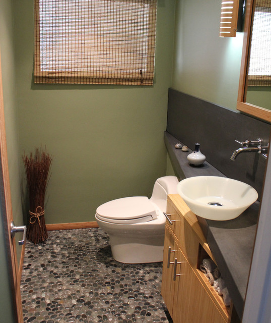 Powder Room Countertop And Backsplash Contemporary