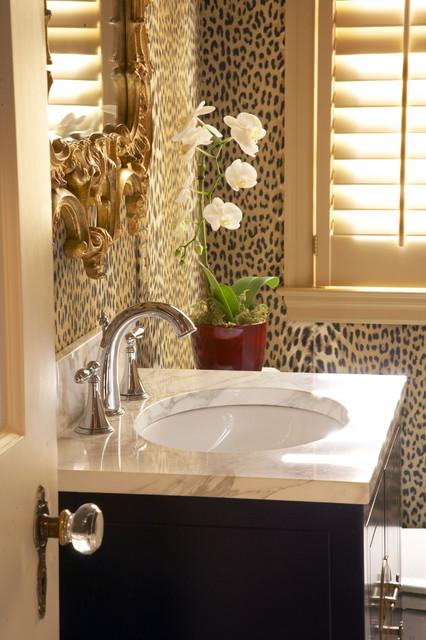 Powder room traditional powder room minneapolis by for Cheetah print bathroom ideas