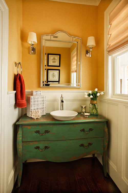 Rustic Powder Room by Portland Interior Designers & Decorators Garrison Hullinger Interior Design Inc.