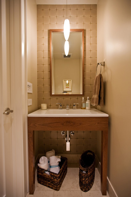 Small bathroom design in former closet by bay area for Bathroom powder room designs