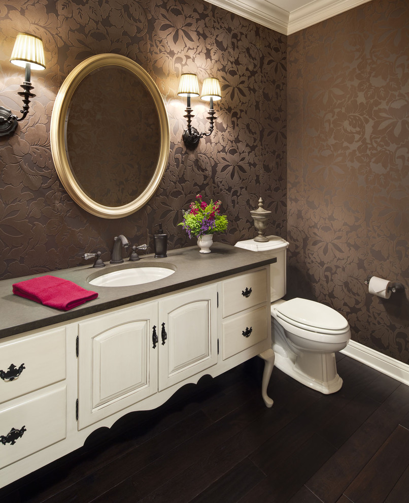 Elegant powder room photo in Chicago with an undermount sink, furniture-like cabinets, beige cabinets and gray countertops