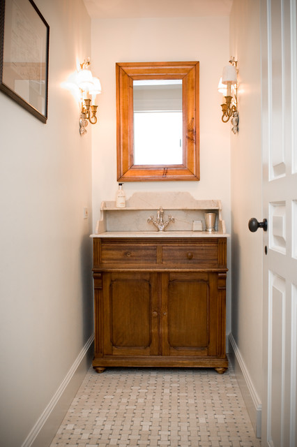 Farmhouse Powder Room by LKM Design. 1 2 bath ideas   an Ideabook by ycorbeil