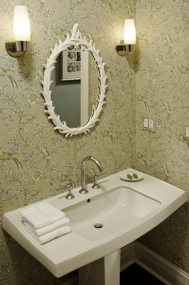 Powder room - contemporary powder room idea in Chicago with a pedestal sink