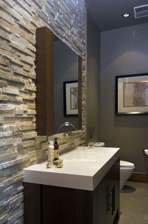 contemporary powder room by - Bathroom Vanity Backsplash Ideas