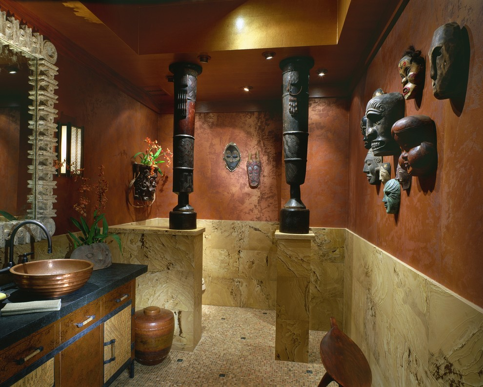 Inspiration for a tropical powder room remodel in Hawaii with a vessel sink